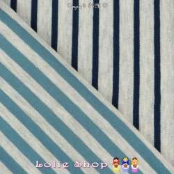 Jersey Coton Imprimé Motif Rayures Double Face Fond Gris Chiné