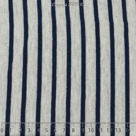 Jersey Coton Imprimé Motif Rayures Double Face Fond Gris Chiné - FACE A
