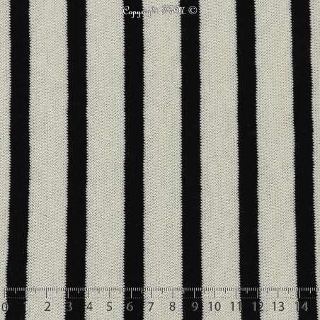 Jersey Coton Imprimé Motif Rayures Épaisse Noir Fond Blanc Cassé - Photo 15x15 Cm