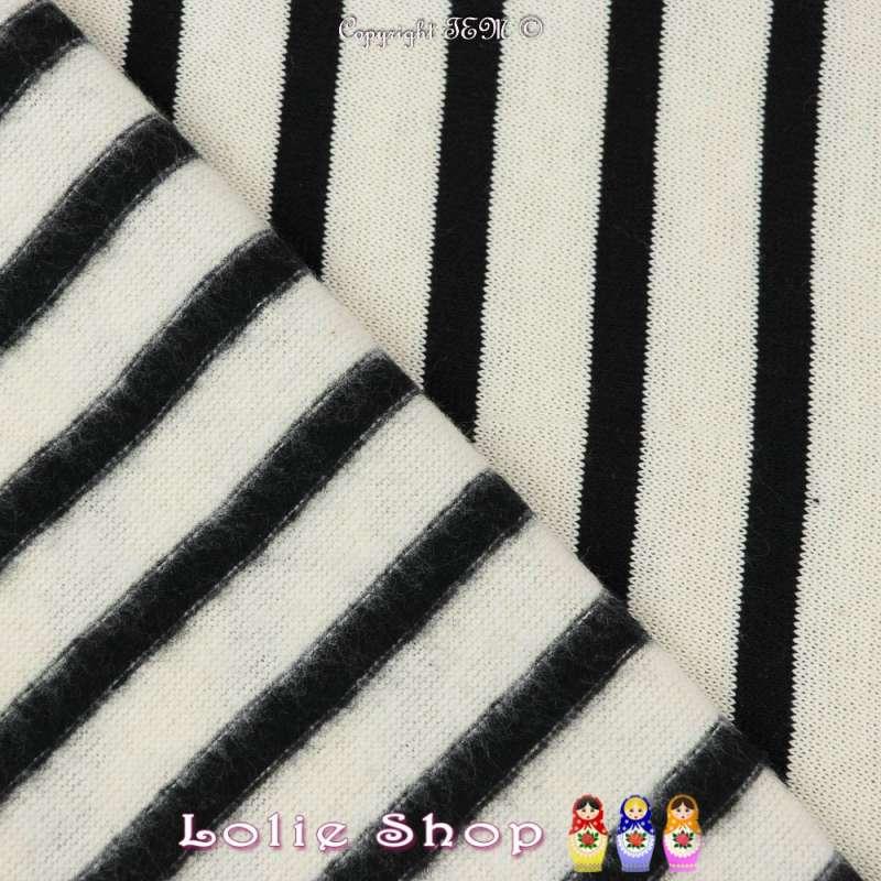 Jersey Coton Imprimé Motif Rayures Épaisse Noir Fond Blanc Cassé
