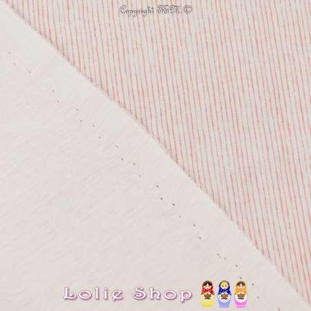 Jersey Coton Imprimé Motif Petites Rayures Rouge Fond Blanc Cassé