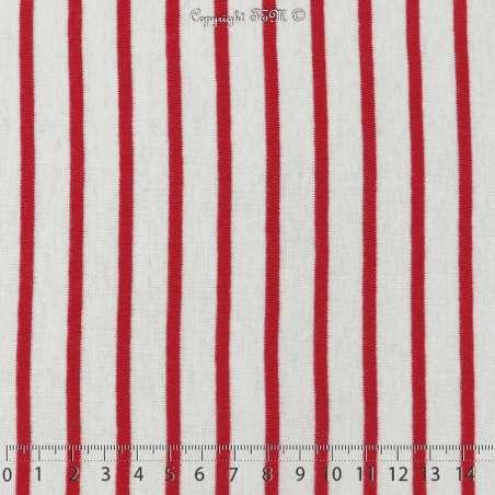 Jersey Coton Imprimé Motif Rayures Épaisse Rouge Fond Blanc Cassé