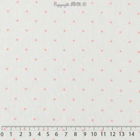 Jersey Coton Imprimé Motif Petites Étoiles Couleur Corail Fond Blanc Cassé