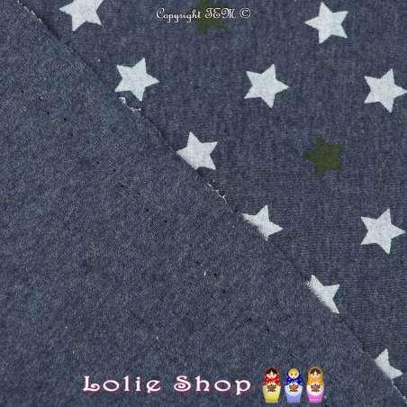 Jersey Coton Imprimé Mélange D'étoiles Blanche/Kaki Fond Bleu De Berlin