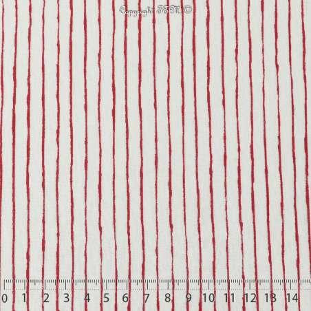 Jersey Coton Imprimé Motif Rayures Rouge Fond Blanc Cassé