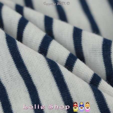 Jersey Coton Imprimé Motif Rayures Fines Bleu Marine Fond Blanc Cassé