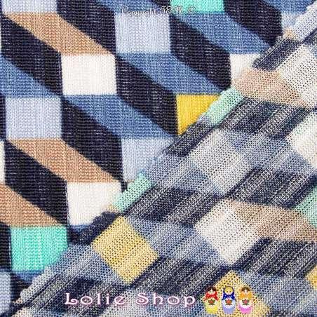 Maille Jersey Côte OMAHA Motif Cube 3D Ton Indigo & Jaune