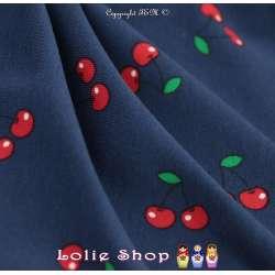 Jersey Coton Imprimé Motif Cerise Fond Marine