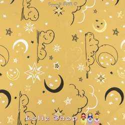 Jersey Coton Imprimé Et Métallisé Motif Étoiles Et Lunes Fond Jaune Aurore