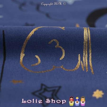 Jersey Coton Imprimé Et Métallisé Motif Étoiles Et Lunes Fond Bleu Nuit