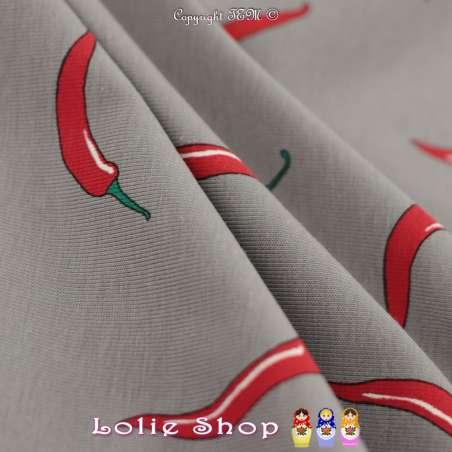 Jersey Coton Imprimé Motif Piment Rouge Fond Gris