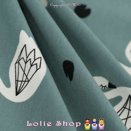 Jersey Coton Imprimé Motif Cygnes Blanc Fond Vert Lichen