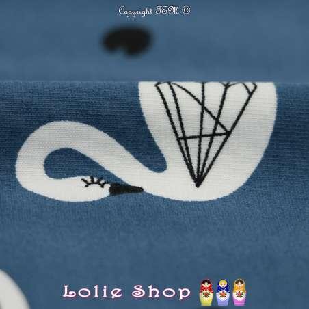 Jersey Coton Imprimé Motif Cygnes Blanc Fond Bleu Paon