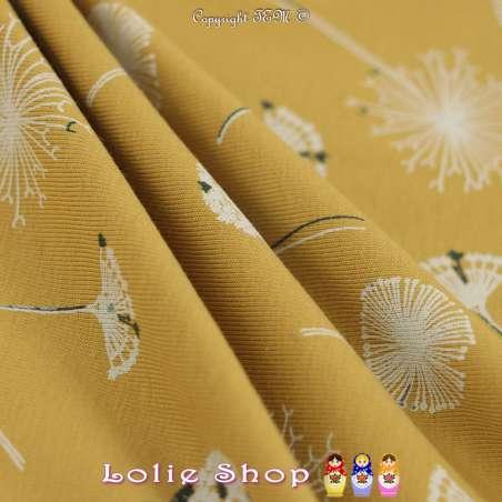 Jersey Coton Imprimé Motif Pissenlit Fond Ocre-Ambre