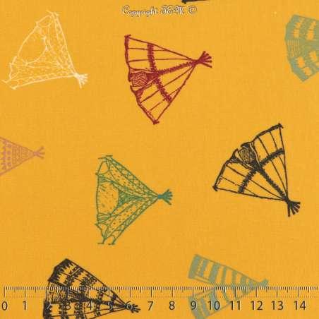 Jersey Coton Imprimé Motif Tipi Multicolors Fond Gomme-gutte Clair