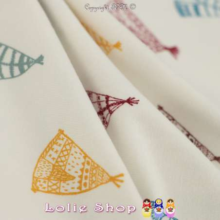 Jersey Coton Imprimé Motif Tipi Multicolores Fond Écru
