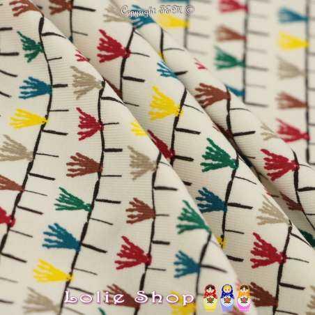 Jersey Coton Imprimé Motif Pampilles Multicolores