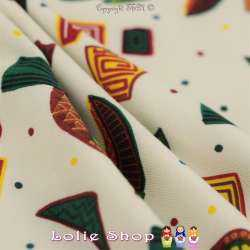 Jersey Coton Imprimé Motif Thème Inca Toucan et Pois
