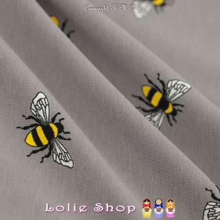 Jersey Coton Imprimé Motif Abeille Fond Gris