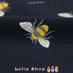 Jersey Coton Imprimé Motif Abeille Fond Marine