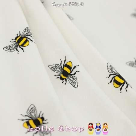 Jersey Coton Imprimé Motif Abeille Fond Blanc