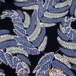 Tissu Microfibre Imprimé Feuillages Modèle PLUME Ton Bleu