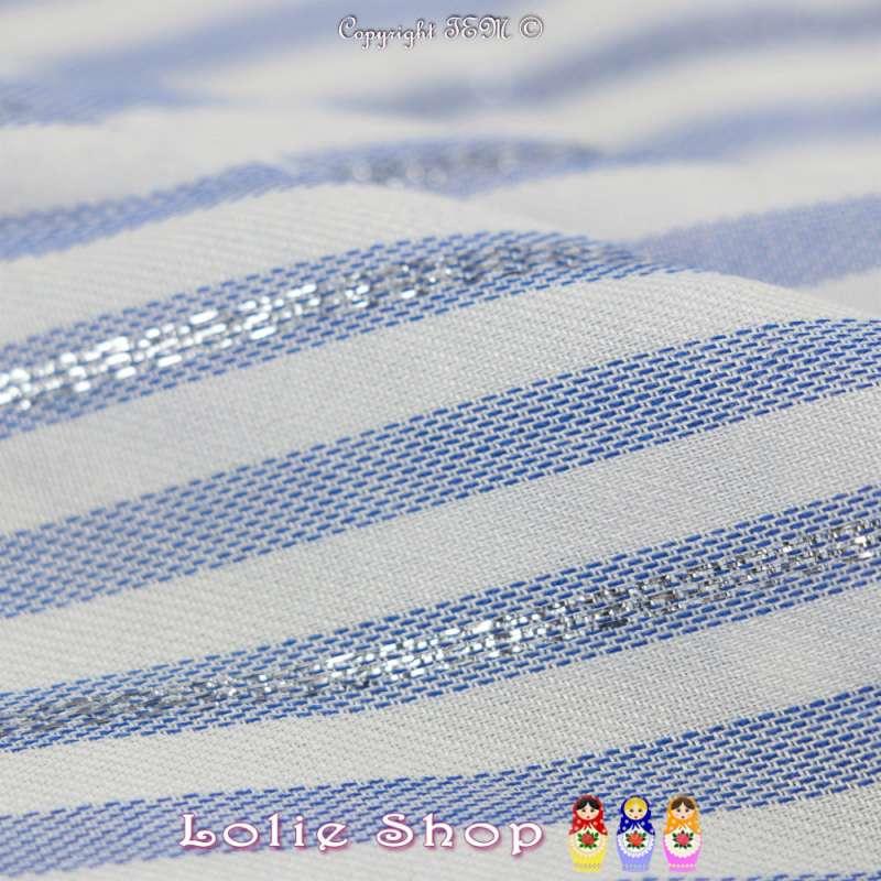 Tissus Viscose Motif Rayures Bleu Surpiqué Lurex