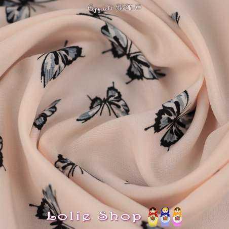 Microfibre Imprimée Papillon Bleu/Gris Fond Rose Pâle