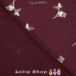 Tissu Tissage Natté Bordeaux Métallisé Motif Chouette Dorée Sur Branche