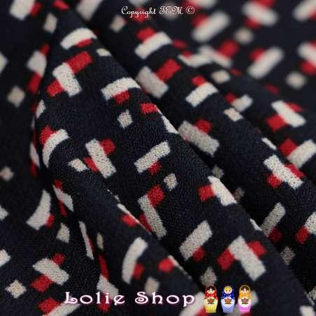 Jersey Crêpé Imprimé Motif Graphique Rouge Et Blanc Fond Bleu Marine
