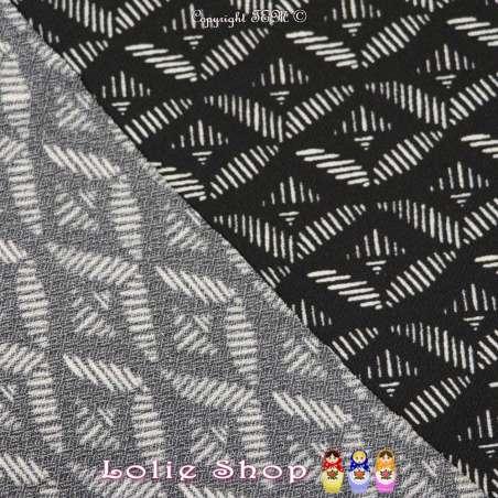 Jersey Crêpé Imprimé Motif Graphique Blanc Cassé Fond Noir
