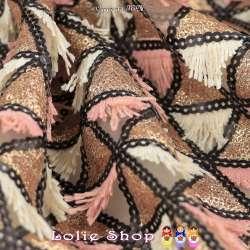Tulle Brodé Sequins Dorés Et Franges Couleur Rose/Blanc Cassé