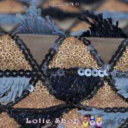Tulle Brodé Sequins Dorés Et Franges Couleur Bleu