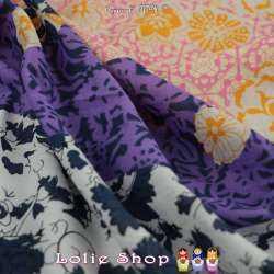 Tissu Voile De Coton Imprimé Motif Fleurs Deux Bases
