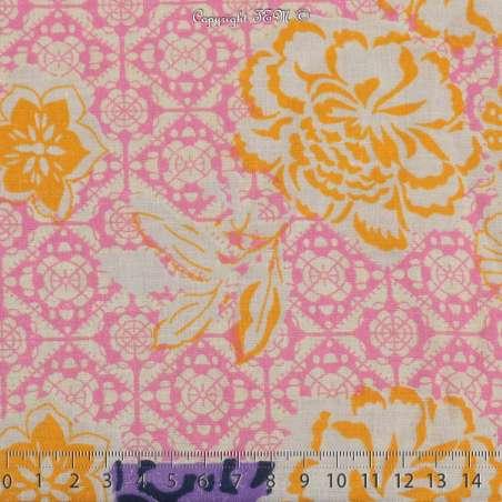 Tissu Voile De Coton Motif Fleurs Deux Bases