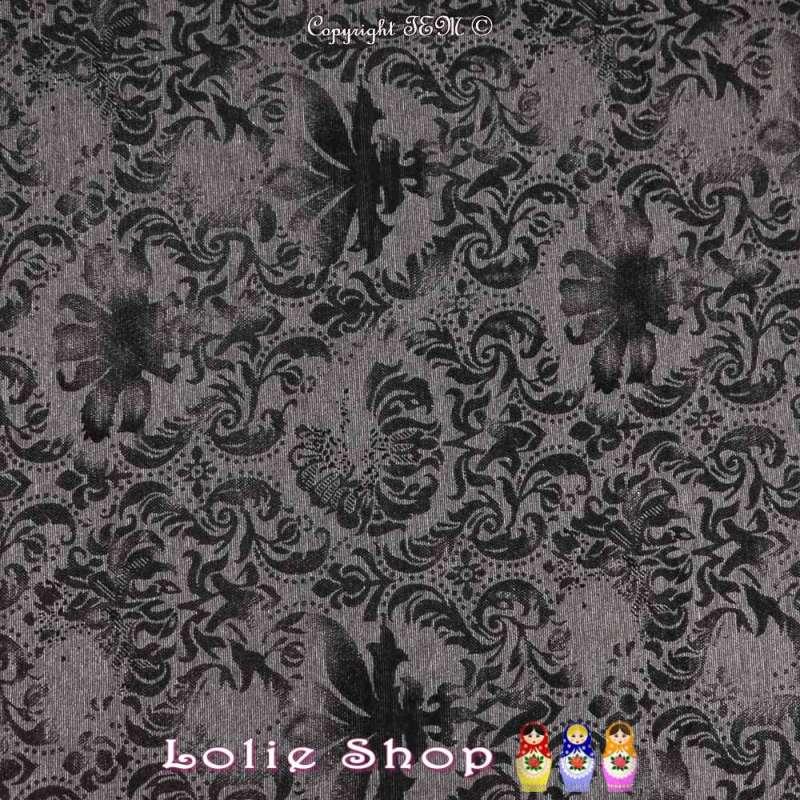 Maille Jersey Milano Floqué Fleurs Velours Noir Sur Fond Gris Anthracite