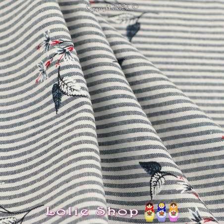 Tissu Toucher Gaufré, Motif Marinière à Rayures Bleu Marine Tissé Teint (2mm) & Fleurs Imprimées de Couleur, Rouge Blanc et Bleu