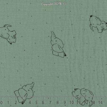 Tissu Double Gaze de Coton froissé Imprimer Éléphant sur fond menthe pastel