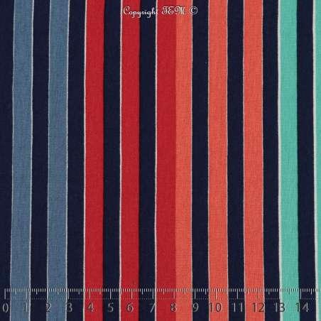 Jersey Viscose Imprimé Modèle MINA Marinière Colorés Ton Marine et Rouge