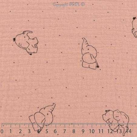 Tissu Double Gaze de Coton froissé Imprimer Éléphant sur fond Couleur Vieux Rose