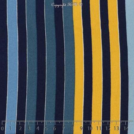 Jersey Viscose Imprimé Modèle MINA Marinière Colorés Ton Marine et Jaune