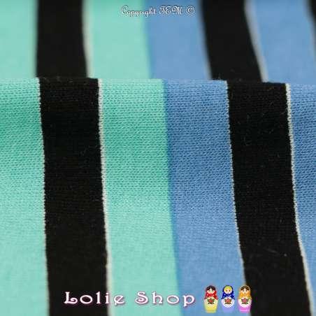 Jersey Viscose Imprimé Modèle MINA Marinière Colorés Ton Noir et Pastel