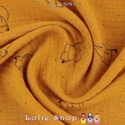 Tissu Double Gaze de Coton froissé Imprimer Éléphant sur fond Couleur Ocre