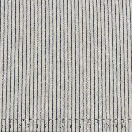 Face B : Fines Rayures Bleu Marine Effet Zigzag Sur Fond Gris clair Chiné - Photo 15x15 Cm