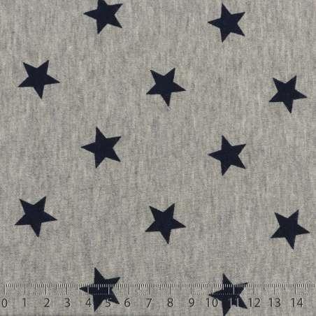 Face A: Grande Étoile Quinconce Bleu Marine Sur Fond Gris Chiné. 15x15 cm Photo.