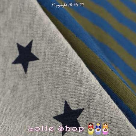 Magnifique Jersey 100% Coton Double Face Imprimé Motif Rayures Large / Étoile - fond Gris Chiné