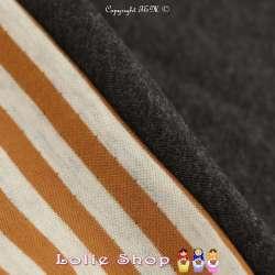 Magnifique Jersey 100% Coton Double Face Imprimé Motif Rayures Large - fond Gris Clair Chiné