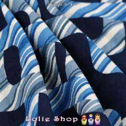 Jersey Viscose Imprimé Modèle PACMAN Motif Graphique Ton Bleu
