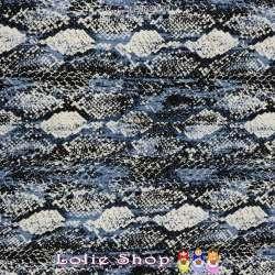 Jersey Viscose Imprimé Modèle COBRA Ton Bleu
