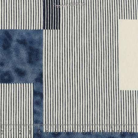 Jersey Viscose Imprimé Modèle CAMPER Motif Graphique Ton Blanc - Photo 15x15 Cm